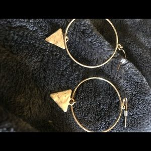 Just In Hammered metal bangle hoop earrings